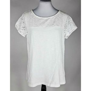 Coldwater Creek White Floral Lace Top Women's M